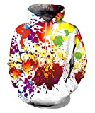 Neemanndy Unisex 3D Paint Drip Hoodies Graphic Long Drawstring Hooded Sweater with Pocket for Men and Women, X-Large