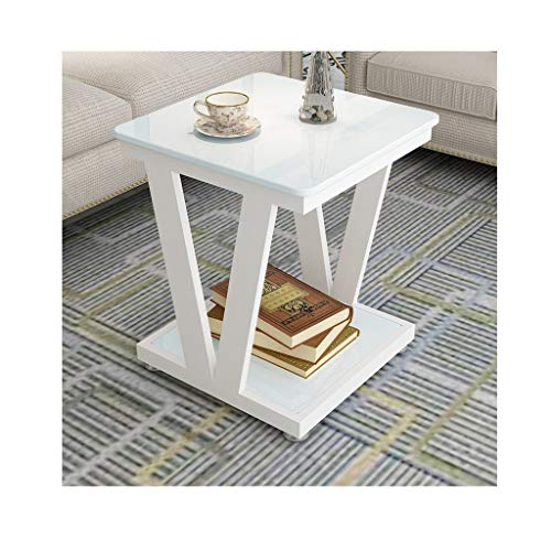 XWF Living Room End Tables Square Small Side Tables with Tempered Glass Top Coffee Tables with Stable Metal Legs for Living Room Bedroom End Table Bedside Tables (Color : White, Size : 60cm)
