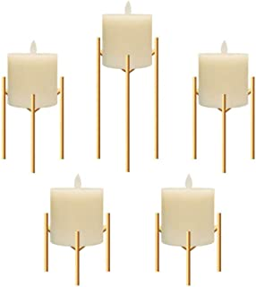 Only-us Iron Pillar Candle Holders Set of 5 Gold Candlesticks for Fireplace/Table/Living Room/Dinning Room Candelabra Decoration Modern Art with Geometric Shape