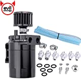 EVIL ENERGY Polish Baffled Universal Oil Catch Can Reservoir Tank Breather Filter Kit Aluminum