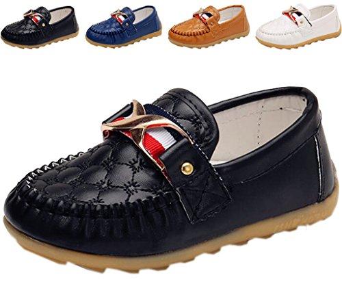 DADAWEN Boy's Girl's Slip-On School Uniform Dress Shoe (Toddler/Little Kid) Black US Size 4.5 M Toddler