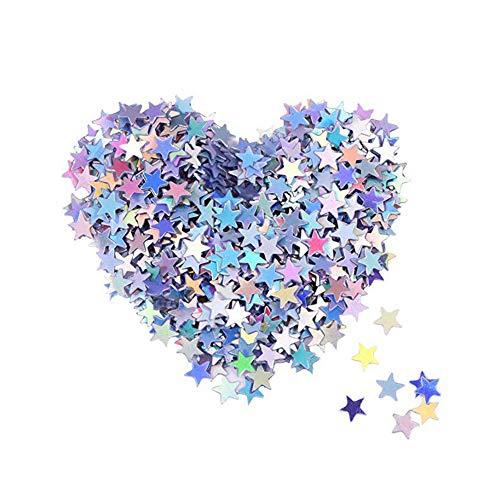 Ruiting Confeti Estrellas,Confeti Lentejuelas Estrella,Confeti Mesa de Estrella de Papel Metálico Brillante Decoración para Fiestas Boda Cumpleaños 10mm/100pcs