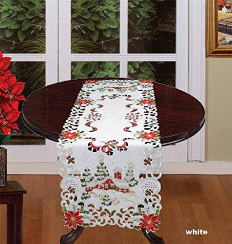 Creative Linens Holiday Christmas Table Runner 15x52 Embroidered Red Poinsettia Christmas Tree Snowy Cabin Dresser Scarf White