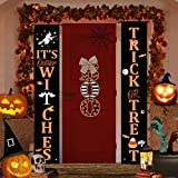 Halloween Decorations Outdoor Decor Clearance, Trick Or Treat & Boo Door Hanging Sign Banner for Fall Porch Home Indoor Decor, Cute Witch Wreaths, Outside Front Cheap Decor (Orange)