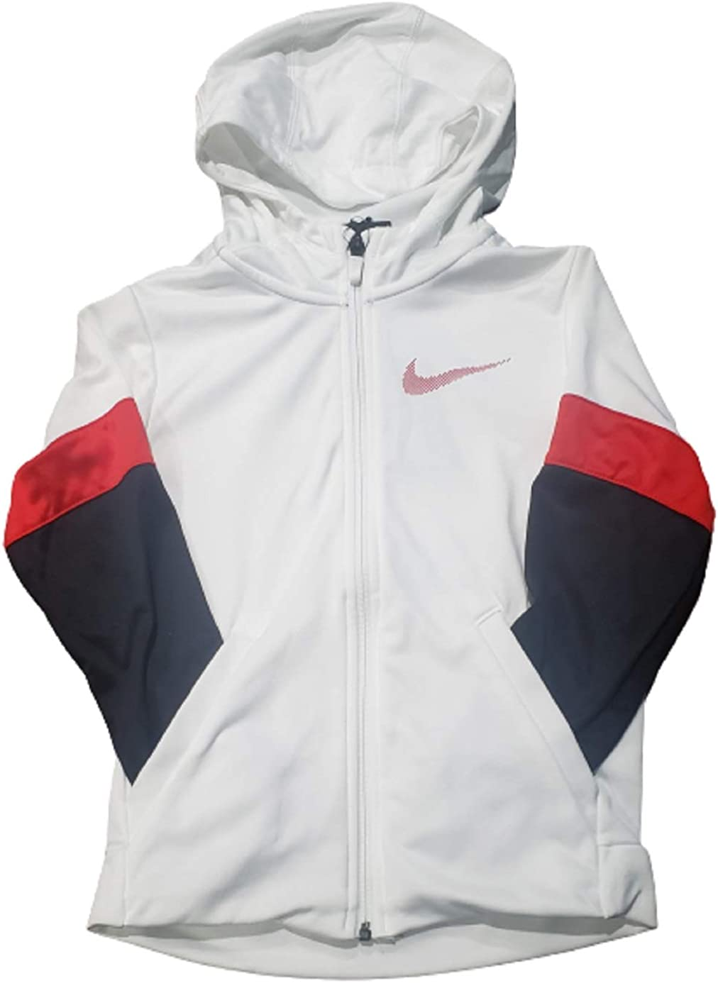 Nike Boy's Therma Dri-Fit Therma Full Zip Hoodie (S, White/Red/Black)