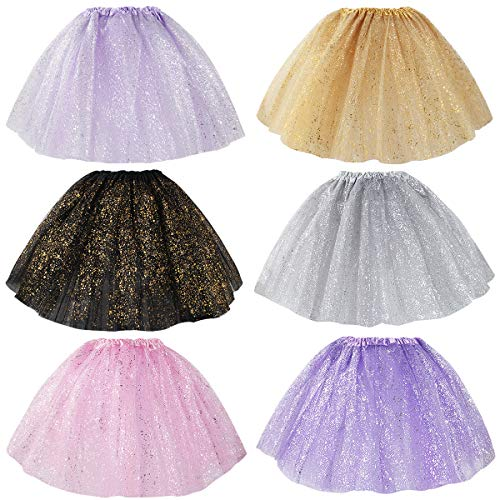 kilofly 6pc Girls Glitter Ballet Tutu Birthday Princess Party Favor Tulle Skirts