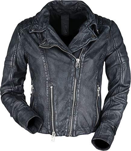 Gipsy G2G Shalin Slim Fit lacov Mujer Chaqueta de Cuero gris/negro L, 100% cuero,