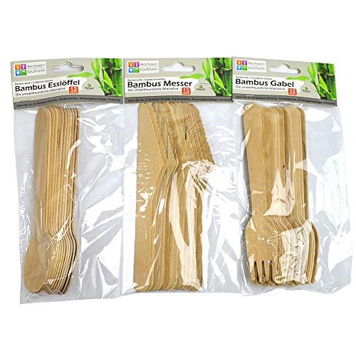 Reichstein & Kaufmann Couverts jetables en bambou - Respectueux de l'environnement - Pour barbecue, anniversaire, camping, pique-nique (fourchettes en bois, couteau en bois, cuillère en bois) (108)