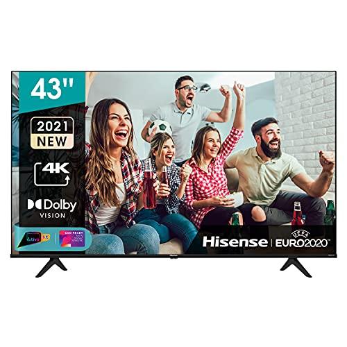 Hisense 43' UHD 4K 2021 43A68G, Smart TV VIDAA 5.0, HDR Dolby Vision, Controlli vocali Alexa / Google Assistant, Tuner DVB-T2/S2 HEVC 10, lativù 4K