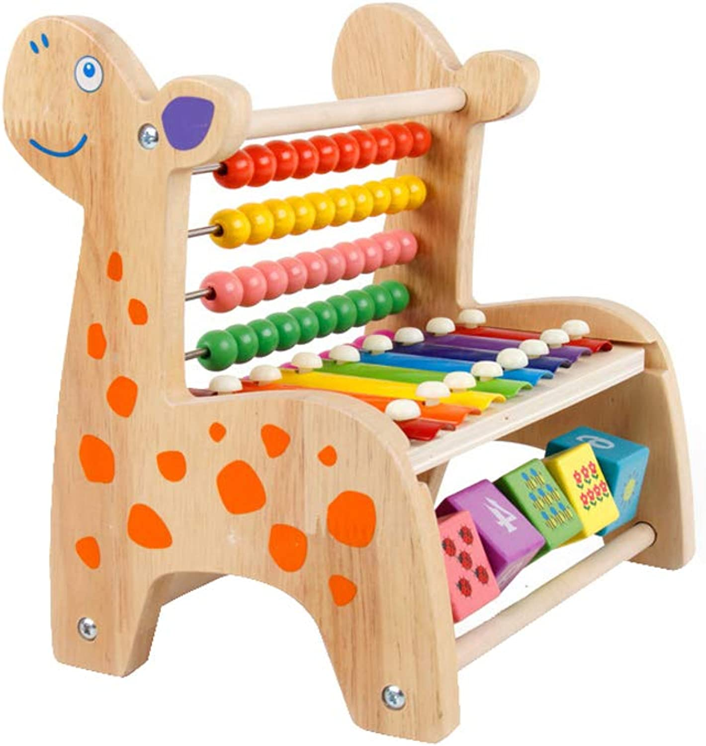 LINGLINGLINGLINGKnock on the piano Knocking On The Wooden Beaded Music Toy Puzzle Early Education Xylophone Boy Girl (color   Beige)