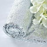Tela de lentejuelas Boda de Tela de lentejuelas de 1 yarda Mantel de lentejuelas plateadas brillantes Mantel glamoroso...
