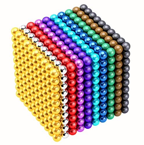 Ysfiuyo M-agnet Ball Gift Iron Ball M-agnetic Fun Gadget Office Leisure Toys Creative Imagination Marble Bead Jigsaw Toy Puzzle Decompression Building Block (3Millimeter-1000Pieces-Colorful)