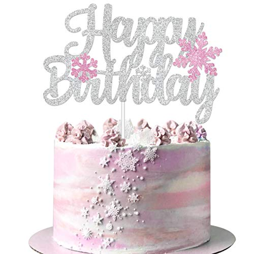 Winter Happy Birthday Cake Topper - Glitter Snowflake Birthday Cake Decorations - Pink Winter Themed Girls Bday Party Supplies