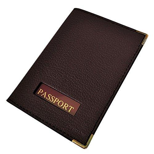 Charmoni-Custodia per passaporto, in vera pelle, nuovo Eytan marrone taglia unica