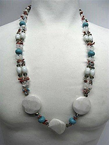 Natural mente – Blanc Quartz, collier, env. 65 cm, pierre naturelle, collier, chaîne, blanc quartz, n ° 1006