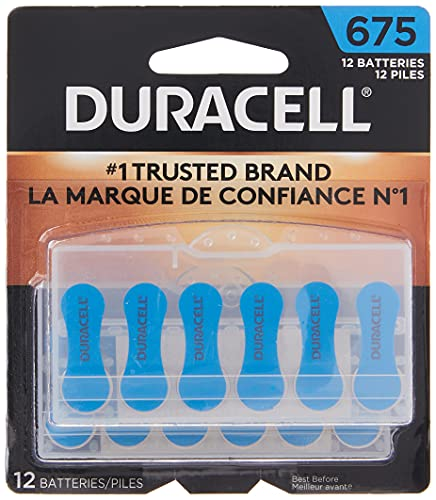 Duracell Hearing Aid Batteries Size 675 Blue long lasting battery with EasyTab for ease installation, 12 Count