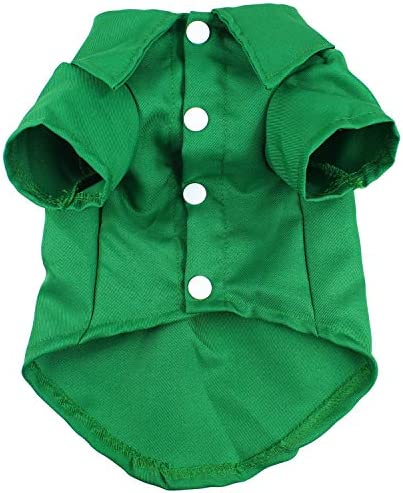 HOODDEAL Dog Shirts Green Cotton Polo T Shirt Cute Breathable Solid Pet Clothes Soft Casual product image