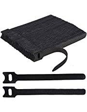 H HOME-MART 100pcs 7.9inch Reusable Cable Ties, Cable Management, Cable Straps Adjustable Releasable Tidy Wrap Hook and Loop Strong Black Cable Strap Cable Tie, 20cmx12mm (100-Pack)