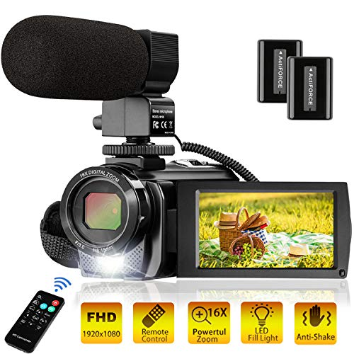 Video Camera Camcorder FHD 1080P 30FPS 24MP YouTube Camera with Microphone 3.0 Inch 270 Degree...