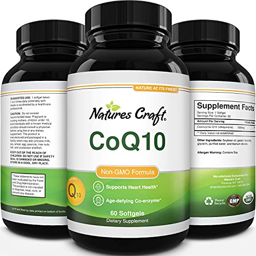CoQ10 100mg Softgels Antioxidant Supplement - Coenzyme Q10 100mg Energy Pills for Anti Aging Skin Care and Heart Health - CoQ10 Supplement for Fertility Support Sugar Balance and Brain Booster