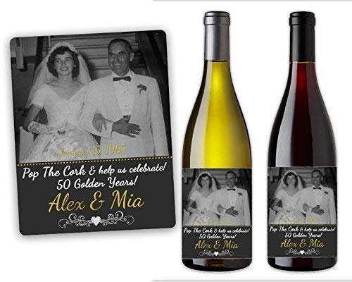 Our shop OFFers the best service 50th Anniversary Party Wine Favors Golden Wedding Label Max 70% OFF