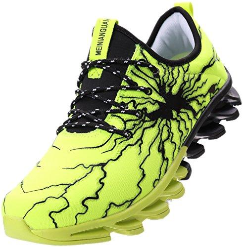 BRONAX Herren Sportschuhe Schnürschuhe Atmungsaktiv Moderne Freizeit Sneaker Schuhe Outdoor Laufschuhe Low-Top Bequeme Turnschuhe Gymnastikschuhe Männer Jungen Grün Schwarz 42 EU (43 Asien)