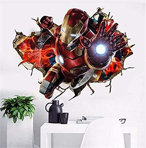 LCFF Wandtattoo Wand-Sticker 3D-Superheld Iron Man Venom Avengers Abziehbilder Superman Murals Batman Wallpaper Self Adhesive Poster-Kind-Raum-Ausgangsdekor 60 x 90 cm (Color : B)