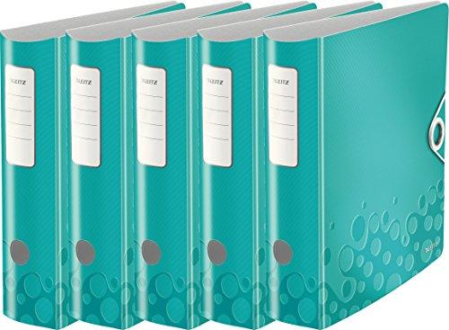 Leitz Qualitäts-Ordner 180° Active Wow, A4, Runder Rücken, 8,2 cm Breite, Kunststoff, Gummibandverschluss (5er Pack, eisblau metallic)