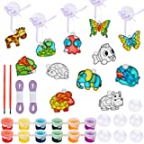 Woiworco Window Paint Art Kit for Kids Suncatchers Paint Set for Children's DIY Craft with 12 Styles Animal Sun Catchers, 12 Suction Cups, 6-Color Paints and Ribbon for Hanging
