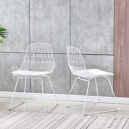 Sanery Set of 2 Retro Iron Wire Garden Chairs, Outdoor Country Style Metal Bistro Patio Leisure Dining Chair (White)