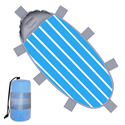 Lamtwek Bath Towel Fabric Beach Blanket,Sand Free Beach Blankets,Outdoor Compact Picnic Beach Mat Best Sand Proof Picnic Mat for Travel, Camping, Hiking with Inflatable Pillow,8 pcs Sandbags