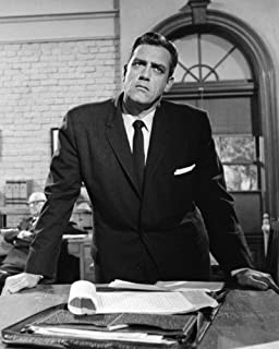 Perry Mason Raymond Burr in court standing up by desk 8x10 Promotional Photograph