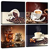 Wall art for kitchen Coffee Bean Coffee Cup Canvas Prints Wall Art Decor Framed Ready to Hang - 4 Panels Modern Artwork Painting Contemporary Pictures for Dining Home Decoration