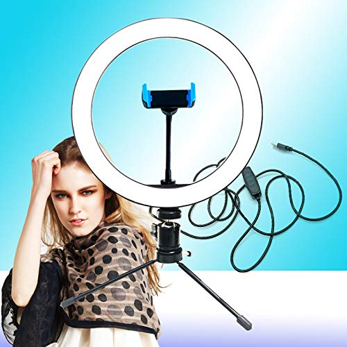 JIAWEI Led-ringlamp - dimbare make-up lamp - met slanghouder en USB-kabel - voor het maken van YouTube-video's en live streams