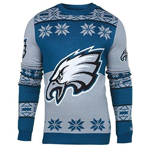FOCO NFL Klew Big Logo Ugly Sweater, Unisex-Erwachsene, Philadelphia Eagles Pullover mit großem Logo, Ugly Rundhalsausschnitt, Größe XL, Teamfarbe, X-Large
