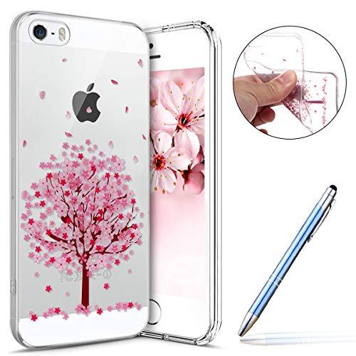 Robinsoni Coque iPhone SE,iPhone 5S Étui en Silicone,Coque Transparente motif Fleur de Cerisier Cherry blossoms Rose Coque,Souple Tpu Ultra-Mince Cristal Clair Coque Housse Etui iPhone 5 5S SE,#4