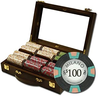 300 Ct Milano Poker Chip Set by Claysmith Gaming in Walnut Case