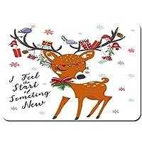 バスマット 玄関マット 足ふきマット,かわいい鹿のクリスマスベクトルイラスト挨拶,滑り止め ソフトタッチ 丸洗い 洗濯 台所 脱衣場 キッチン 玄関やわらかマット 50 x 80cm