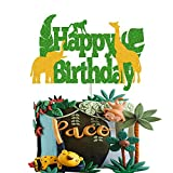 Jungle Safari Animal Cake Topper Wild Zoo Theme for Kids Boy Girl Happy Birthday Party Supplies Green Sparkle Double Sided Decorations