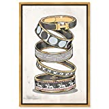 """Image of The Oliver Gal Artist Co. Fashion and Glam Framed Wall Art Canvas Prints 'Arm Candy Noir' Jewelry Home Décor, 16"""" x 24"""", Black, Gold"""