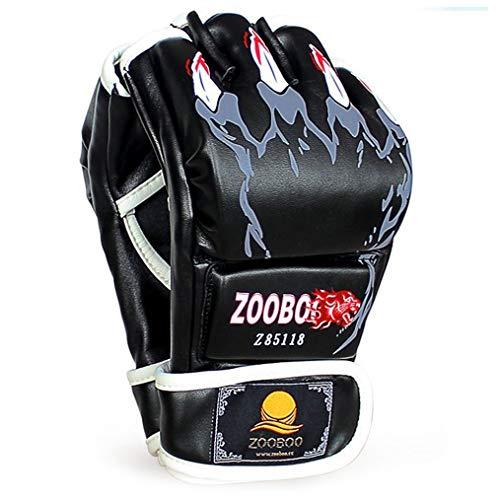 ZooBoo MMA Handschuhe, Halbfinger-Boxhandschuhe mit verstellbarem Handgelenkband, UFC Handschuhe für Kampfsport, Sanda, Sparring, Boxsack-Training