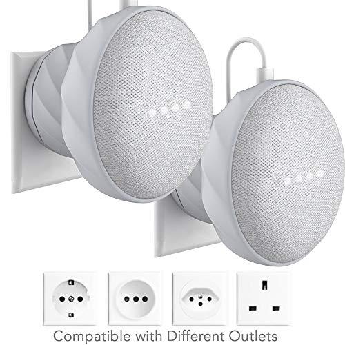 KIWI design 2 piezas Soporte para Home Mini de Google, Soporte Silicona para Pared, Gris Claro(Home Mini no está Incluido)