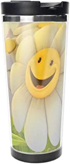 Smiley Face Daisy Flower Double Wall Travel Mug Insulated Stainless Steel Tumbler 18 oz Coffee Cup Flask for Hot & Cold Drinks.