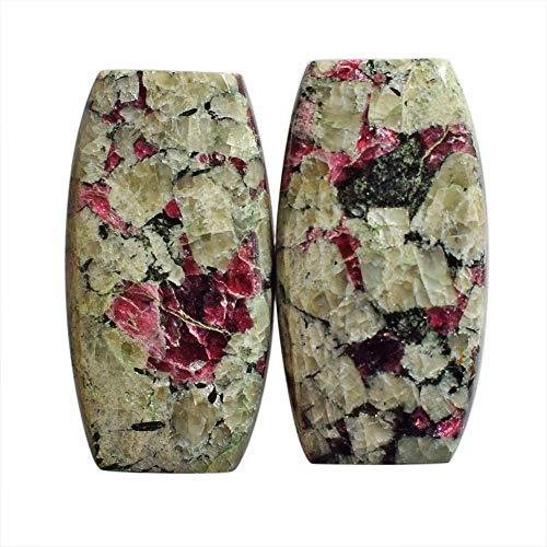 Par de piedras Eudialyte de la península de Kola, Eudialita natural, tamaño 24 x 13 x 4 mm, hecho a mano, joyería, par de pendientes AG-13719