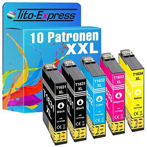 Tito-Express Juego de 10 cartuchos de tinta compatibles con Epson 16XL T1631-T1634 con 18 ml negro y 18 ml por color XXL, WF-2010 W, WF-2500 Series WF-2510 WF WF-2520 NF WF-2530 WF WF-2540 WF