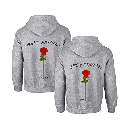 TAAIWO Beste Freunde Pullover für Zwei Mädchen Best Friends Hoodie BFF Pullover Sister Kapuzenpullover Damen Pulli Geburtstagsgeschenk 1 Stück (M,Grau)