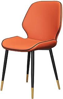 KOOU Sillas de Comedor de Cocina Modernas, sillas de Mesa de Comedor para el hogar con Tela de Cuero de PU, Patas de Metal, para Sala de Estar/Cocina/recepción Silla de Ocio, Naranja