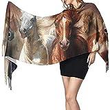 Sciarpe larghe da donna Native American Indian Horses Soft Cashmere Feel Pashmina Shawls Wraps