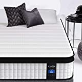Inofia Queen Mattress, 12 Inch Hybrid Innerspring Coils Double Mattress in a Box, Medium Firmness, Breathable Bed with Enough Support, Queen Size Bed