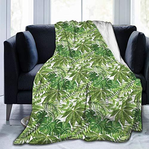 Blanket van flanel fleece, mix van jungle foliage leaves Madagascar Aloha Botanical Forest Plant, Soft Fluffy Throws microvezel blanket
